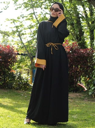 Black - Yellow - Unlined - Crew neck - Abaya