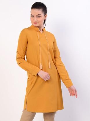 Mustard - Crew neck - Cotton - Tunic
