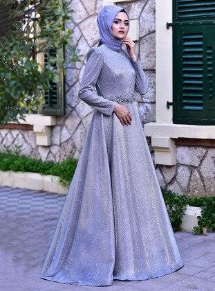 Gray - Crew neck - Muslim Evening Dress