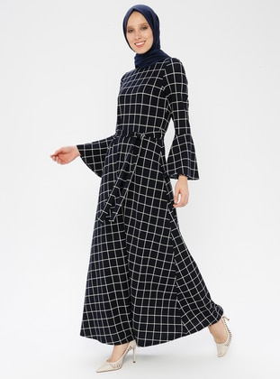 Navy Blue - Checkered - Crew neck - Unlined - Dress