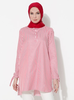 Red - Stripe - Button Collar - Cotton - Tunic