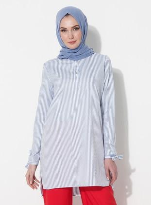 Blue - Stripe - Button Collar - Cotton - Tunic
