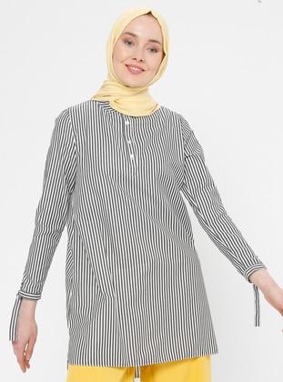 Black - Stripe - Button Collar - Cotton - Tunic