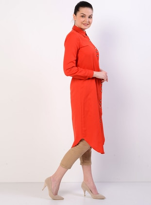 Red - Point Collar - Unlined - Cotton - Dress