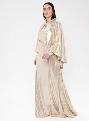 Gold - Fully Lined - Crew neck - Modest Plus Size Evening Dress