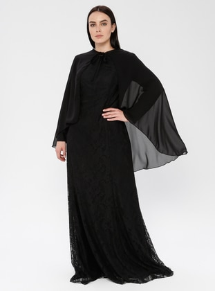 Black - Fully Lined - Crew neck - Muslim Plus Size Evening Dress