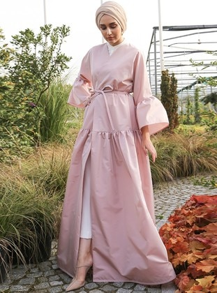 Pink - Unlined - V neck Collar - Abaya