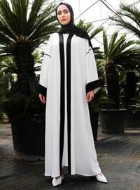 Black - White - Unlined - V neck Collar - Abaya