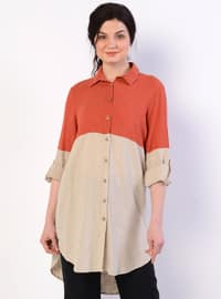 Terra Cotta - Point Collar - Linen - Blouses
