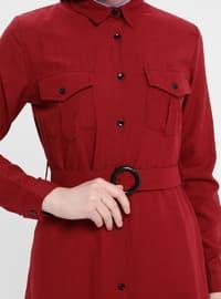 Maroon - Point Collar - Unlined - Dress
