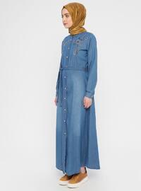 Blue - Navy Blue - Point Collar - Unlined - Cotton - Dress