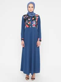 Indigo - Floral - Crew neck - Unlined - Dress