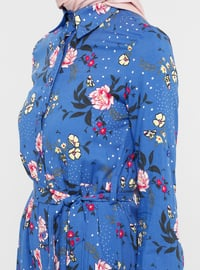 Blue - Floral - Point Collar - Unlined - Dress