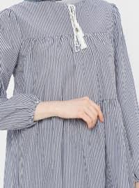 Navy Blue - Stripe - Crew neck - Cotton - Tunic