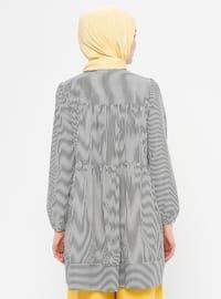 Black - Stripe - Crew neck - Cotton - Tunic