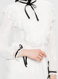White - Ecru - Crew neck - Fully Lined - Dress