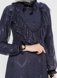 Blue - Navy Blue - Indigo - Crew neck - Fully Lined - Dress