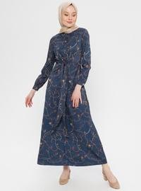 Navy Blue - Multi - Polo neck - Unlined - Dress