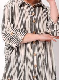 Anthracite - Stripe - Point Collar - Linen - Blouses