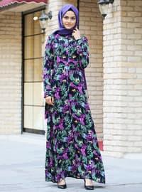 Mürdüm - Çok renkli - Fransız yakalı - Astarsız kumaş - Viskon - Elbise