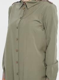 Khaki - Point Collar - Cotton - Tunic
