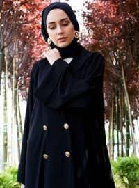 Noir - Tissu non doublé - Col en V - Abaya