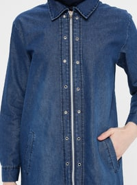 Navy Blue - Unlined - Point Collar - Cotton - Denim - Topcoat