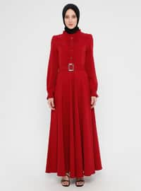 Maroon - Polo neck - Unlined - Dress