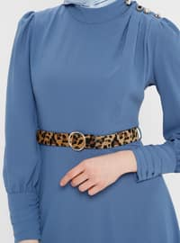 Blue - Navy Blue - Indigo - Polo neck - Unlined - Dress