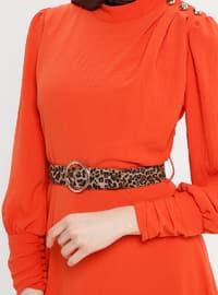 Orange - Polo neck - Unlined - Dress