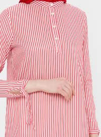 Red - Stripe - Button Collar - Cotton - Tunic