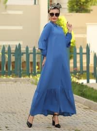 İndigo - Fransız yaka - Astarsız kumaş - Elbise