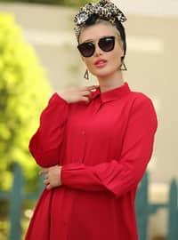 Kırmızı - Fransız yaka - Astarsız kumaş - Elbise