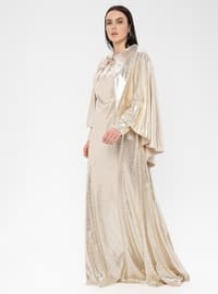 Gold - Fully Lined - Crew neck - Muslim Plus Size Evening Dress