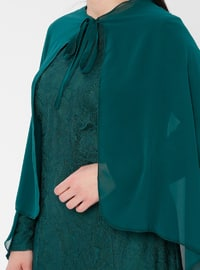 Green - Emerald - Fully Lined - Crew neck - Muslim Plus Size Evening Dress