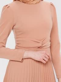 Brown - Salmon - Crew neck - Unlined - Dress