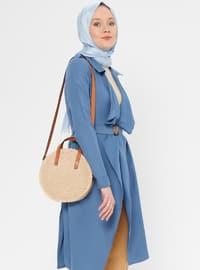 Blue - Navy Blue - Indigo - Unlined - Shawl Collar - Topcoat
