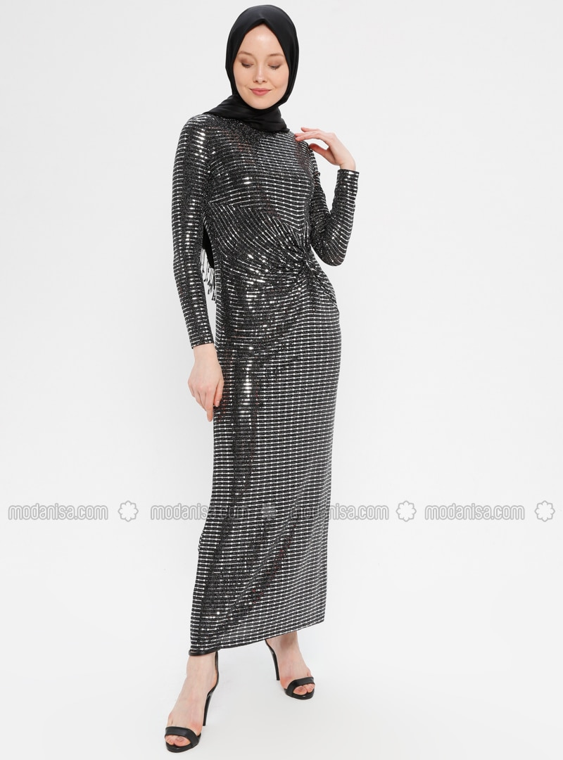 Black - Silver tone - Fully Lined - Crew neck - Muslim Evening Dress