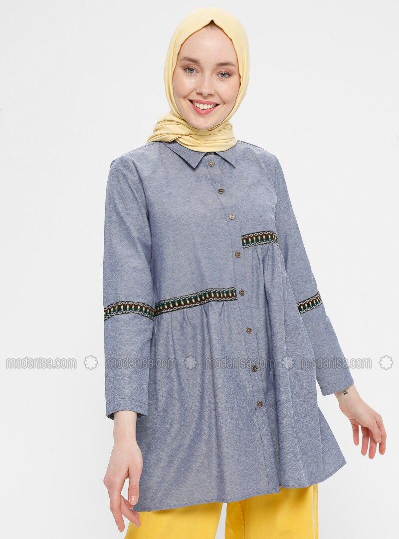 Blue - Navy Blue - Point Collar - Cotton - Tunic