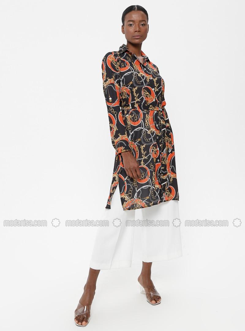 Black - Terra Cotta - Multi - Point Collar - Tunic