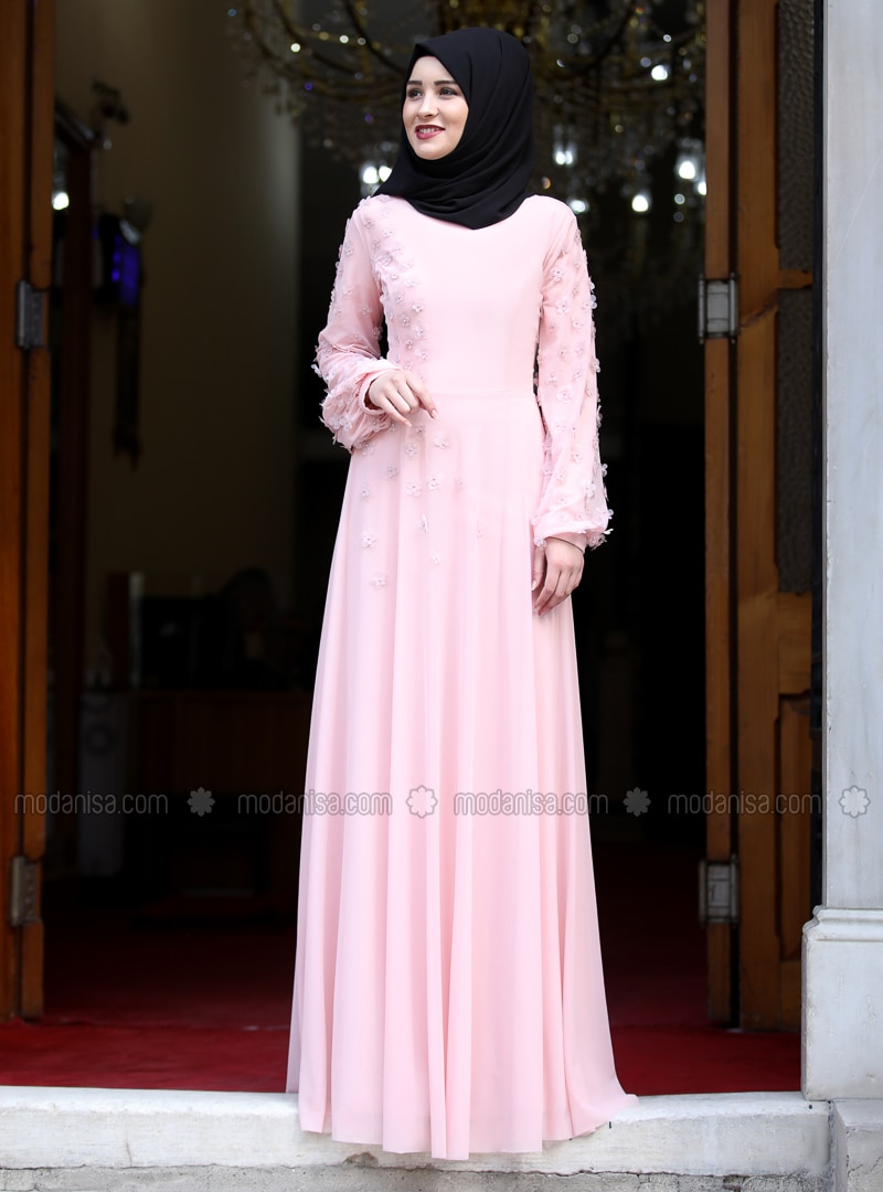 Powder - Floral - Crew neck - Fully Lined - Muslim Evening Dress