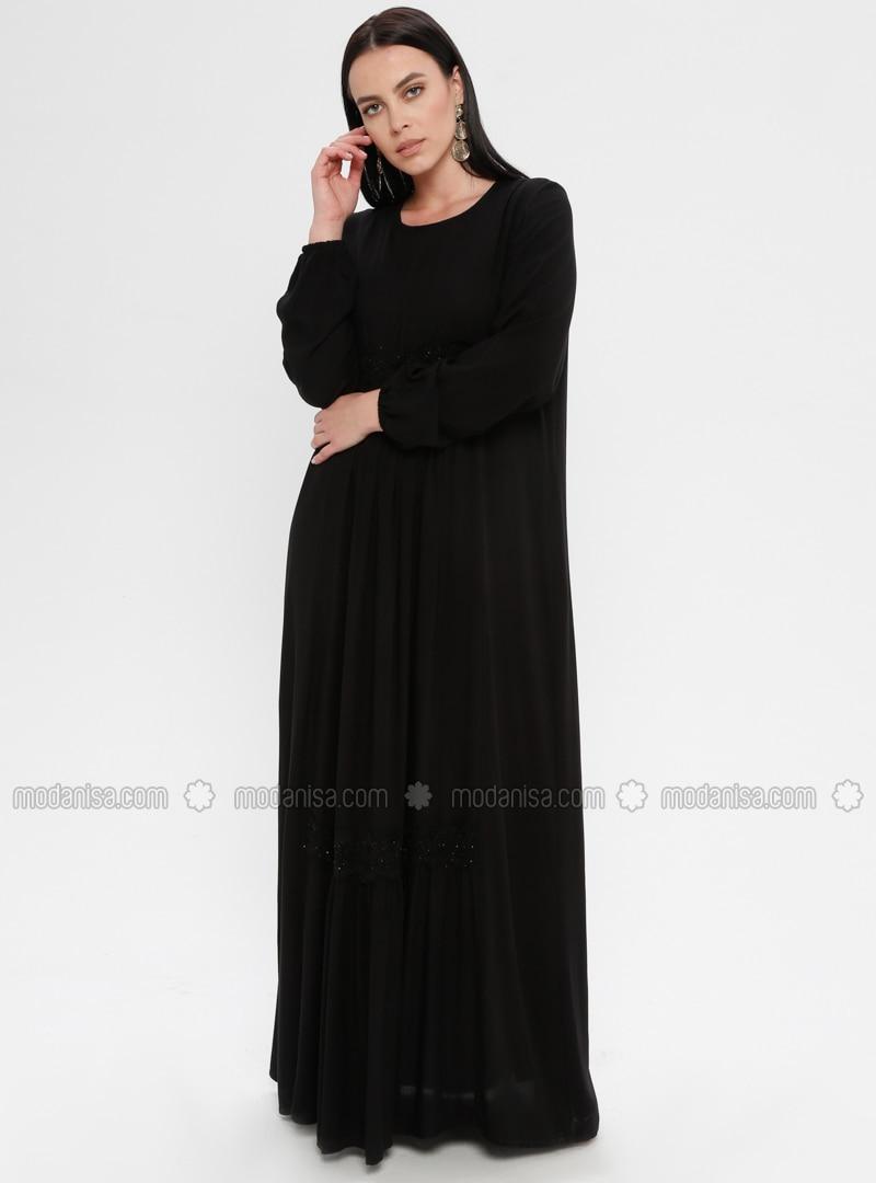 Black - Unlined - Crew neck - Plus Size Dress - Ginezza