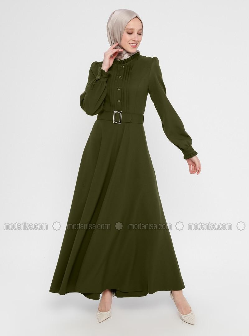 Khaki - Polo neck - Unlined - Dress