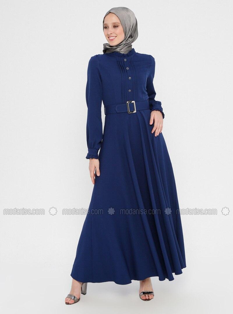 Navy Blue - Indigo - Polo neck - Unlined - Dress