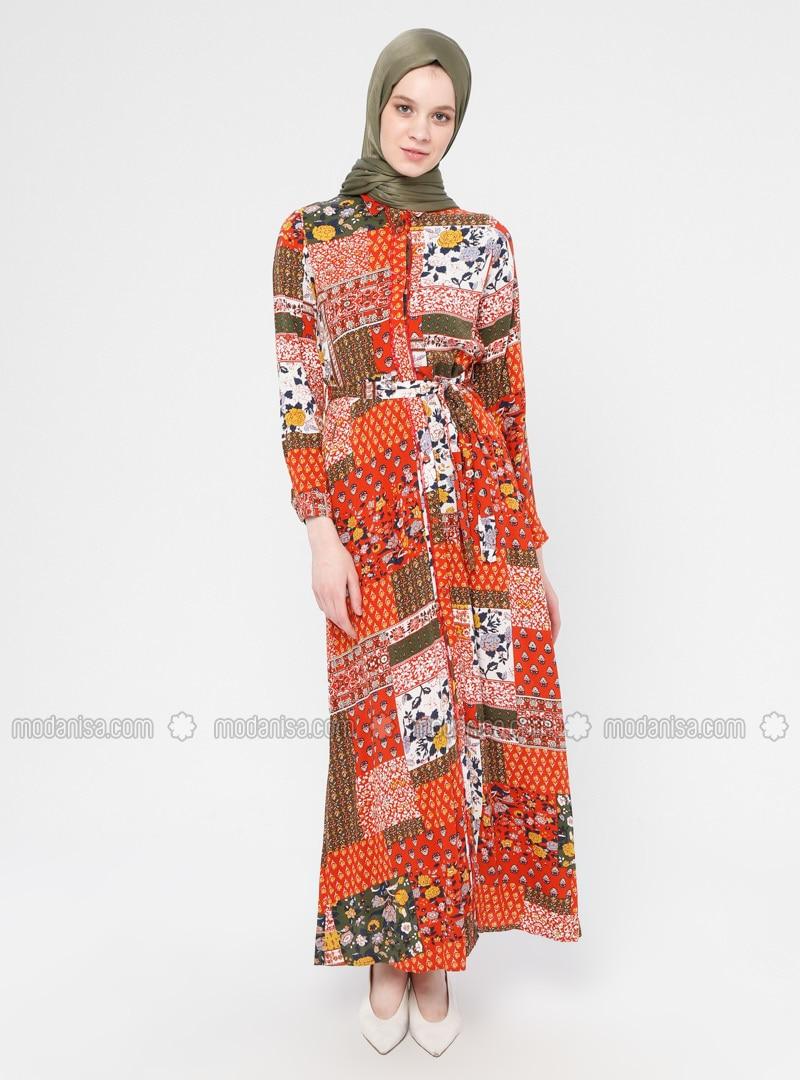 Terra Cotta - Multi - Point Collar - Unlined - Dress