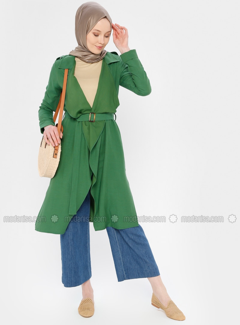 Green - Unlined - Shawl Collar - Topcoat