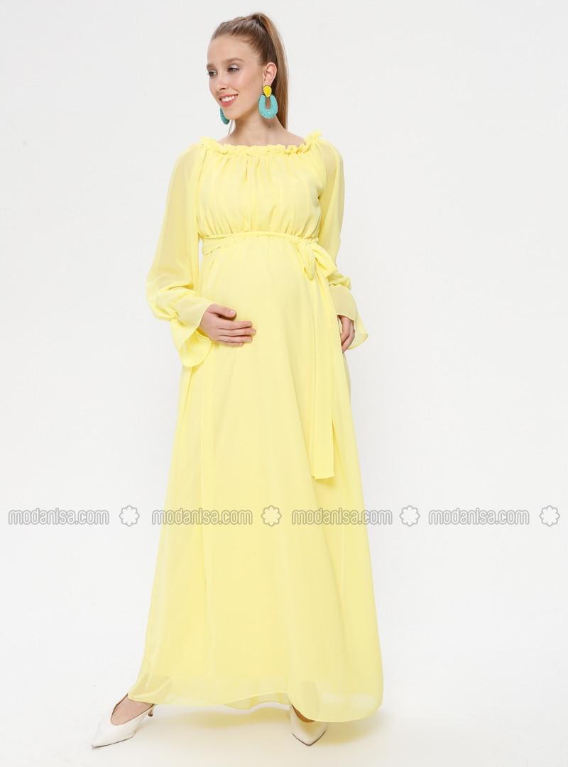 e8cbefd498ae0 Yellow - Boat neck - Fully Lined - Cotton - Maternity Dress. Fotoğrafı  büyütmek için tıklayın