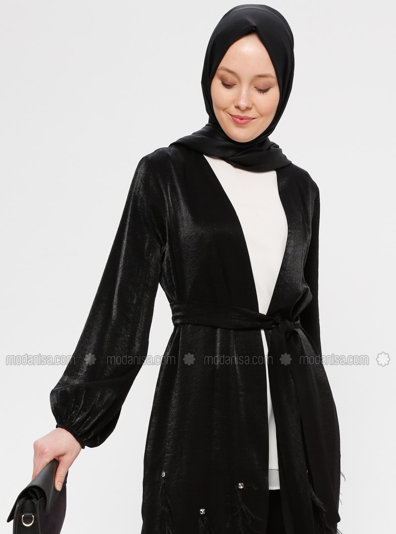 Black - Unlined - Crew neck - Abaya