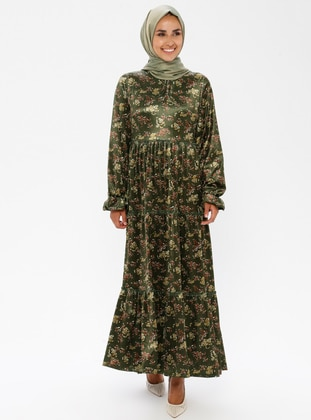Green - Floral - Unlined - Crew neck - Muslim Evening Dress