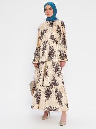 Cream - Leopard - Multi - Crew neck - Unlined - Dress